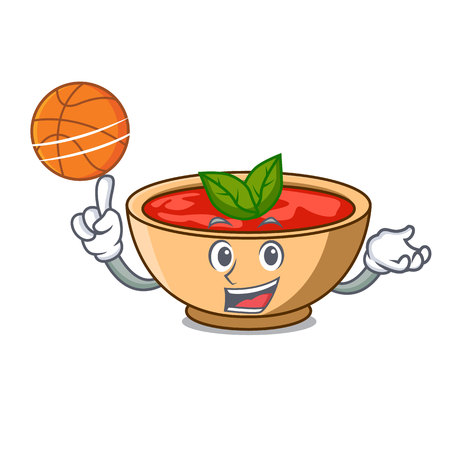 With basketball tomato soup character cartoon vector illustration Illustration