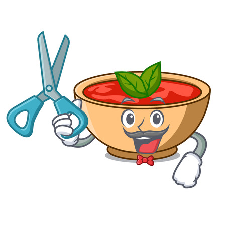 Barber tomato soup character cartoon vector illustration Illustration