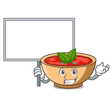 Bring board tomato soup character cartoon vector illustration