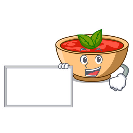 With board tomato soup character cartoon vector illustration Illustration