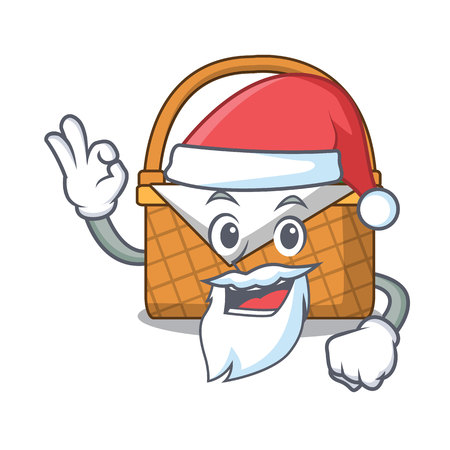 Santa picnic basket mascot cartoon vector illustration