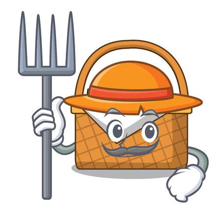 Farmer picnic basket character cartoon vector illustration