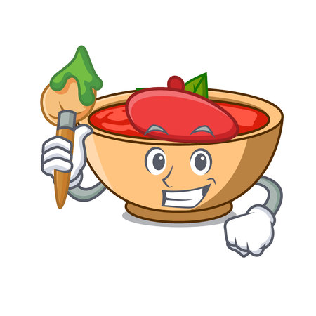 Artist tomato soup character cartoon vector illustration