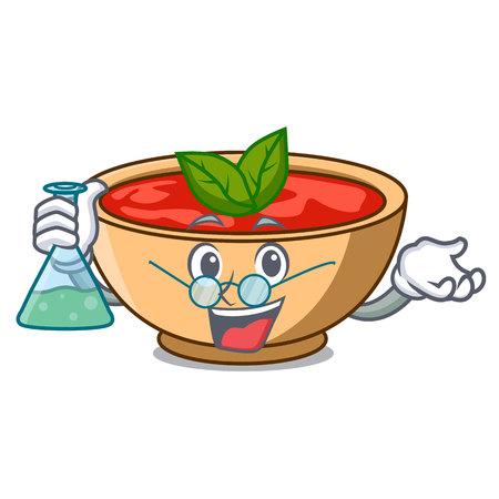 Professor tomato soup character cartoon vector illustration