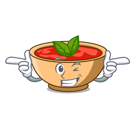 Wink tomato soup character cartoon vector illustration Illustration