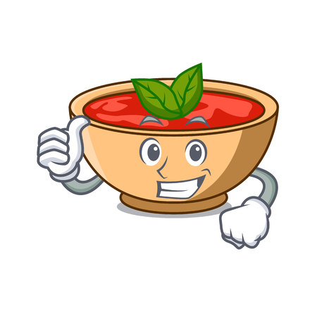 Thumbs up tomato soup character cartoon vector illustration