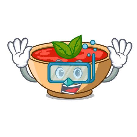 Diving tomato soup character cartoon vector illustration Çizim