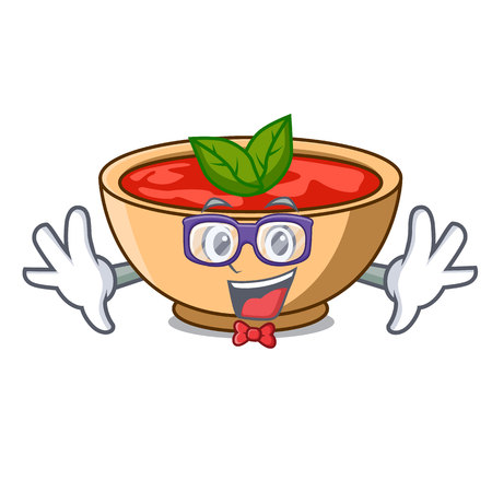 Geek tomato soup character cartoon vector illustration Illustration