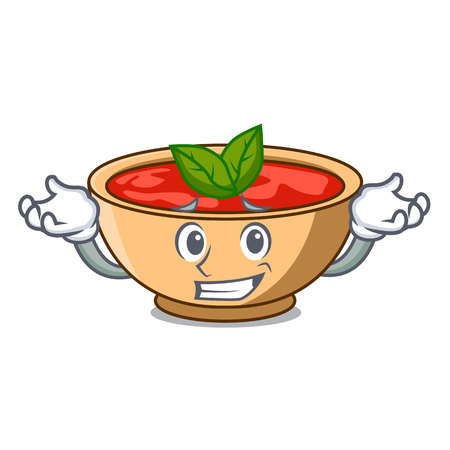 Grinning tomato soup character cartoon vector illustration