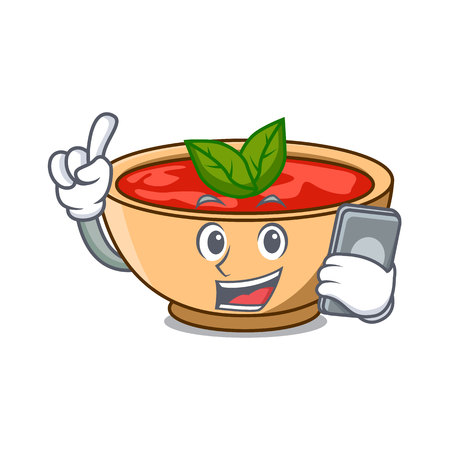 With phone tomato soup character cartoon vector illustration Illustration