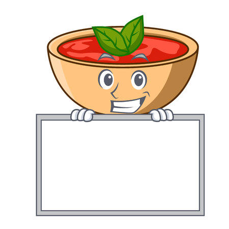Grinning with board tomato soup character cartoon vector illustration