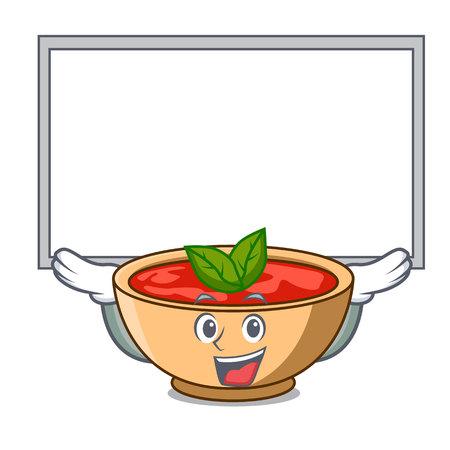 Up board tomato soup character cartoon vector illustration