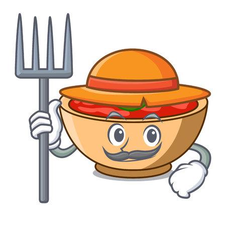 Farmer tomato soup character cartoon vector illustration Illustration