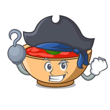 Pirate tomato soup character cartoon vector illustration Illustration