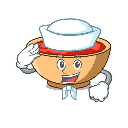 Sailor tomato soup character cartoon vector illustration