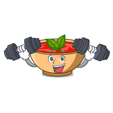 Fitness tomato soup character cartoon vector illustration