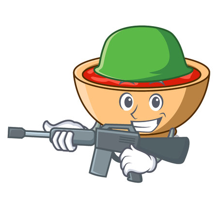 Army tomato soup character cartoon vector illustration