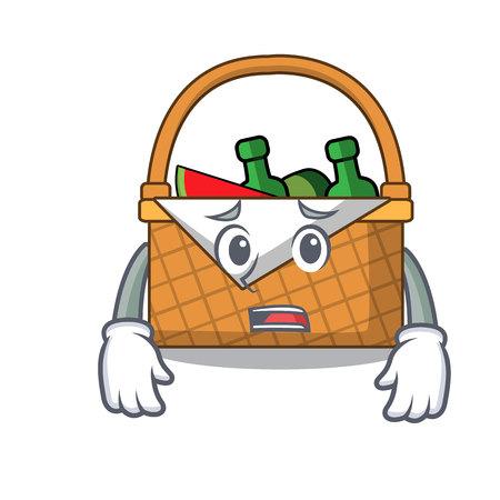 Afraid picnic basket mascot cartoon vector illustration