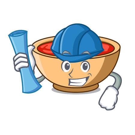 Architect tomato soup character cartoon vector illustration Illustration
