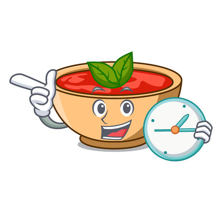With clock tomato soup character cartoon vector illustration