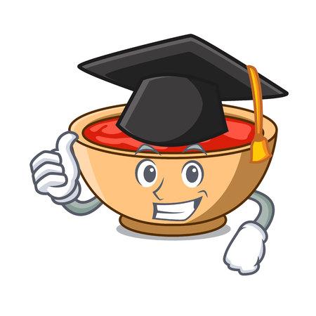 Graduation tomato soup character cartoon vector illustration