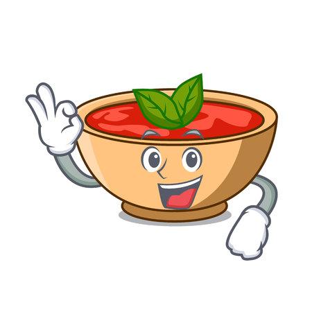 Okay tomato soup character cartoon vector illustration
