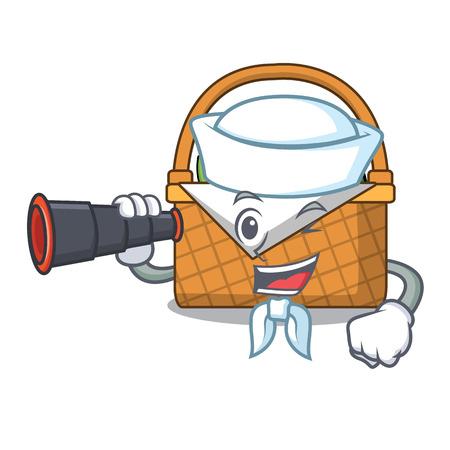 Sailor with binocular picnic basket mascot cartoon vector illustration