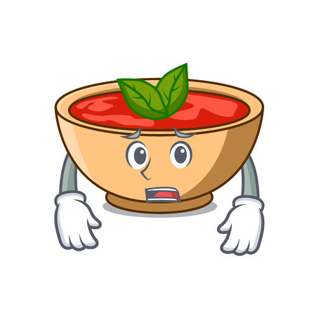 Afraid tomato soup character cartoon vector illustration