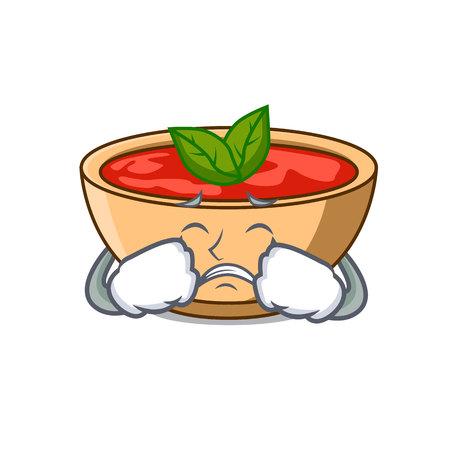 Crying tomato soup character cartoon vector illustration Illustration