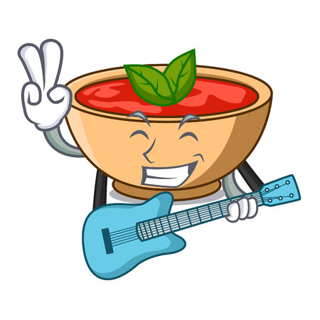 With guitar tomato soup character cartoon vector illustration