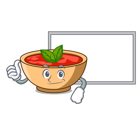 Thumbs up with board tomato soup character cartoon vector illustration