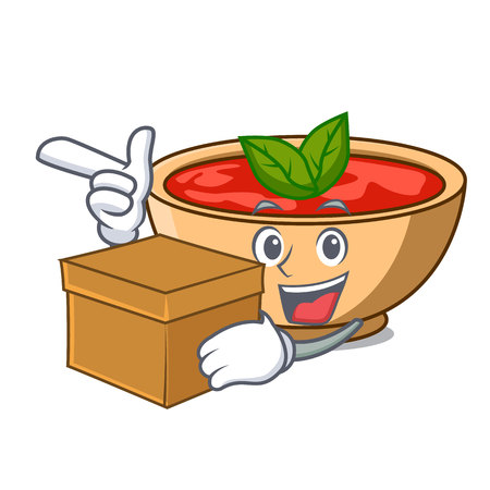With box tomato soup character cartoon vector illustration
