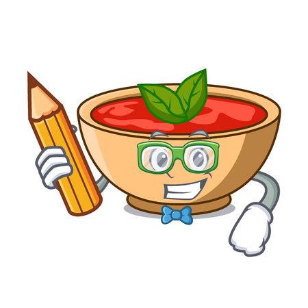 Student tomato soup character cartoon vector illustration