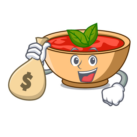 With money bag tomato soup character cartoon vector illustration