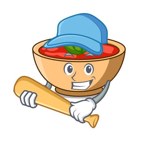 Playing baseball tomato soup character cartoon vector illustration