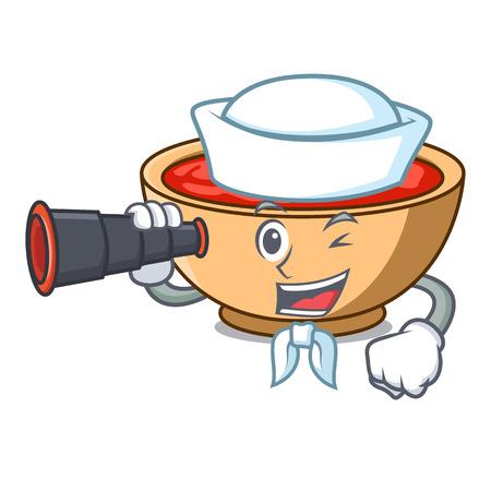 Sailor with binocular tomato soup character cartoon vector illustration Illustration