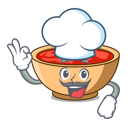 Chef tomato soup character cartoon vector illustration