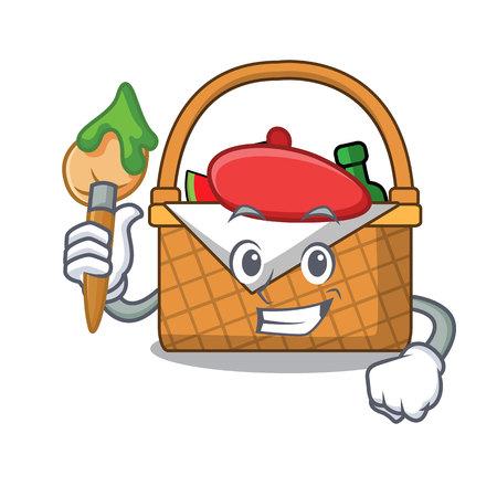 Artist picnic basket character cartoon vector illustration Ilustração