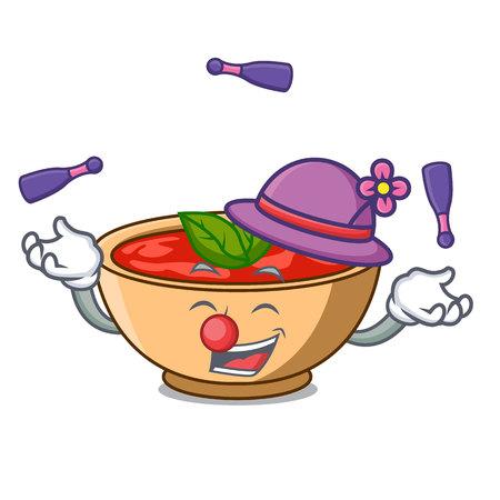 Juggling tomato soup character cartoon vector illustration