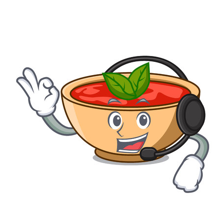 With headphone tomato soup character cartoon vector illustration Illustration