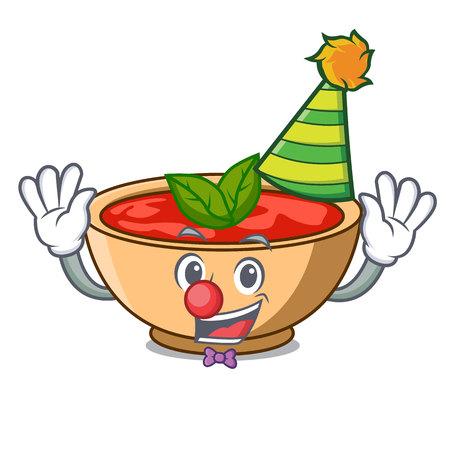 Clown tomato soup character cartoon vector illustration Illustration