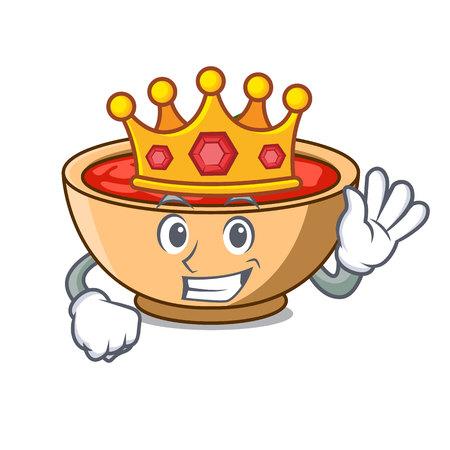 King tomato soup character cartoon vector illustration Illustration