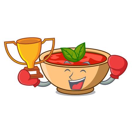 Boxing winner tomato soup character cartoon vector illustration