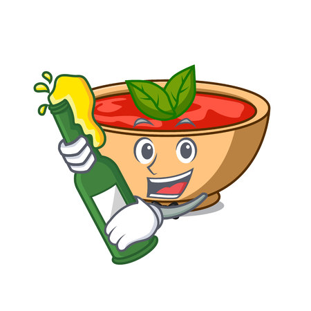 With beer tomato soup character cartoon vector illustration