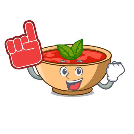 Foam finger tomato soup character cartoon vector illustration
