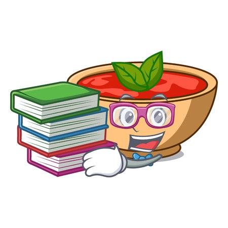 Étudiant avec illustration vectorielle de livre soupe tomate personnage dessin animé