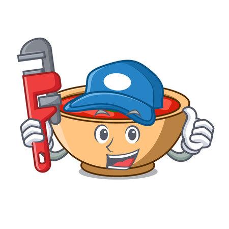 Plumber tomato soup character cartoon vector illustration Illustration