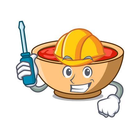 Automotive tomato soup character cartoon vector illustration