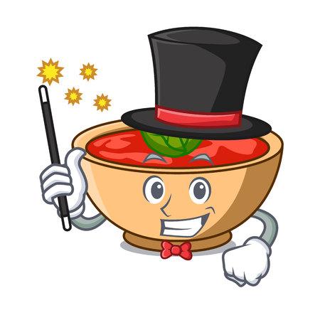 Magician tomato soup character cartoon vector illustration