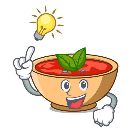 Have an idea tomato soup character cartoon vector illustration